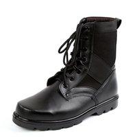 taktische militärische schwarze stiefel großhandel-Mens Leather Tactical Army Boots Knöchelriemen Black Combat Military Boots Atmungsaktive Sicherheitsschuhe mit Stahlkappe Größe 34-46