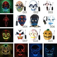 Wholesale scary cosplay for sale - Group buy Halloween mask LED Scary Masks Skull Masquerade Mask EL Wire Ghost Pumpkin Halloween Dancing Cosplay Party Masks