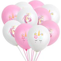 décor flottant achat en gros de-12 '' Licornes Ballons gonflables Latex Ballons Décor De La Fête 2.5g Baloons Roman Palloncini De Mariage De Noël Baby Shower Birthday Party Air Float