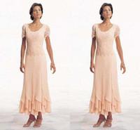 moderne kleider für mutter braut groihandel-Moderne Plus Size Kleider für die Brautmutter Kurzarm Scoop Chiffon A-Line Tee Länge Abendkleider 2019 Neue formale Kleider für die Mutter