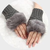 Wholesale arm warmers men knit resale online - Women Girl Knitted Faux Rabbit Fur Gloves Mittens Winter Arm Length Warmer Outdoor Fingerless Gloves Colorful Christmas Gifts CYZ1329