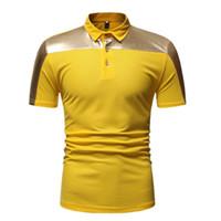polo amarillo delgado al por mayor-Hombre camisa de polo de moda de verano polo amarillo Slim Fit Tops camisetas transpirable cómodo más el tamaño M L XL XXL
