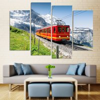 Wholesale mirrored panels for wall online - Painting Modular Landscape Picture Wall Art Pieces Iceberg Under The Train Canvas Home Decoration For Living Room Printing Type