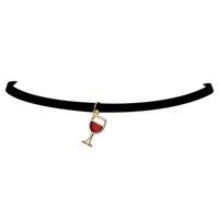 1533231a8e4d Venta caliente de moda falso collar copa de vino azul rojo verde verde  colgante de cuero de terciopelo negro collar de gargantilla para mujeres  joyería