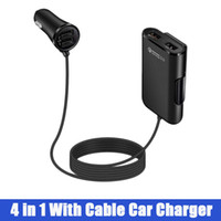 dizüstü şarj cihazları toptan satış-4-Port USB Araç Şarj Adaptörü 6 Arka Uzatma Kablosu ile Ön Arka Koltuk 4 1 Akıllı Cep Telefonu Laptop Şarj Outlet