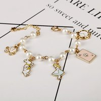 Wholesale key clocks for sale - Group buy Alice in Wonderland Charm Bracelets Bangles Fairy Tale Story Hat Key Clock Bracelet Fashion Jewelry Girls Children Gift