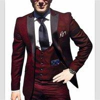 chaquetas de raso color burdeos al por mayor-2018 wanshandress Burgundy Satin Hombres 3 piezas Trajes de esmoquin victorianos Pantalones (chaquetas + chaleco + pantalones) Trajes de novio / traje de corte clásico personalizados
