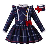 Wholesale uniforms england for sale - Group buy Pettigirl Christmas Blue Grid Girls Dress With Headband Button And Bow Winter Kids Clothes School Uniform Style G DMGD208