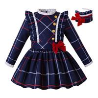 vestido de escola azul venda por atacado-Pettigirl Natal azul da grade Girls Dress Com Headband Botão E Curva Crianças roupas de inverno Escola Estilo Uniforme G-DMGD208-229
