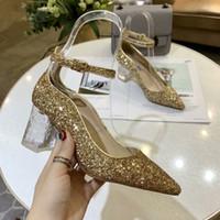 vestido de novia caja de barco al por mayor-2019 Design Women Shoes Tacones altos Gold silver Heels Lady Wedding Heels Shoes Novia Dress Shoes Envío gratis con caja