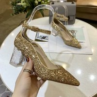 kutu gemi gelinlik toptan satış-2019 Tasarım Kadın Ayakkabı Yüksek Topuklu Altın gümüş Topuklu Bayan Düğün Topuklu Ayakkabı Gelin Elbise Ayakkabı kutusu ile Ücretsiz kargo