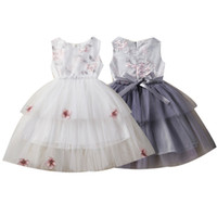 Wholesale designers girl dresses for sale - Group buy Kids Girls Princess Dresses Sleeveless Embroidered Bow Tie Lace Dress Invisible Zipper Mesh Dress Kids Designer Girls Party TUTU T