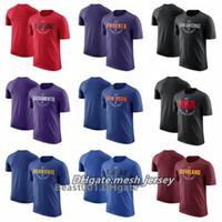 kadınlar için mavi ceketler toptan satış-Erkekler Kadınlar Gençlik Güneş Spurs Blazers Kral Knicks Dişli Siyah Temel Warriors Mavericks Mavi Cavaliers Şarap Uygulama Performansı T-Shirt