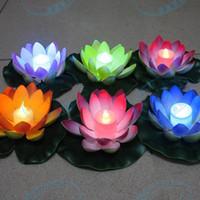 flutuante, velas, casório, decorações venda por atacado-Artificial LED Flutuante Flor de Lótus Lâmpada de Vela Com Luzes Traseiras Coloridas Para Festa de Casamento Decorações Suprimentos