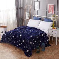 ingrosso biancheria da letto di corallo-Fogli Inverno Bed velluto di corallo coperta calda stella blu Adulti coperte da letto singola e doppia fodere in pile / sofa / TV / coperta di viaggio