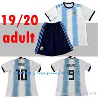 pantalones cortos de fútbol de argentina al por mayor-2019 2020 Argentina Soccer Jersey Shorts Home Azul Blanco Equipo de fútbol MESSI DYBALA DI MARIA Higuain Fútbol Set Uniformes deportivos para adultos