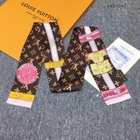 дизайн полос шеи оптовых-Дизайнер модный бренд модная лента шелковый шарф красивый микс дизайн девушки шейный платок резинка для волос сумка ручка обертывания маленькая шея шарфы