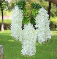 flores artificiais elegantes venda por atacado-Wisteria vinho Elegante Flor De Seda Artificial Wisteria Vine Rattan Para O Centro De Casamento peças Decorações Bouquet Garland
