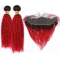 örgü için ombre kıvırcık saç toptan satış-# 1B / Kırmızı Ombre Sapıkça Kıvırcık Tam Dantel Frontal 13x4 Örgüleri ile Parlak Kırmızı Ombre Kıvırcık Malezya İnsan Saç 2 Paketler ve Frontal Kapatma