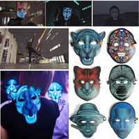 decorações de halloween de qualidade venda por atacado-Alta Qualidade EL Máscara de Fio para Noite de Festa Horrível e Gritando Decorações Do Partido LEVOU Máscara de Luz Fria Ativado por som Halloween