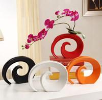 ingrosso vasi arancioni-Vaso moderno in ceramica per vaso decorativo da tavolo Vaso bianco rosso nero arancio a scelta