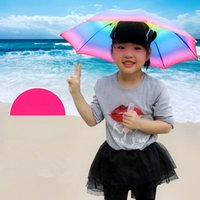kinder sonnenschirm großhandel-Faltbarer Sonnenregenbogen-Regenschirm-Hut scherzt im Freiengolf-Fischen-kampierender Schatten-Strand Headwear-Kopfschutzkappe-Kinder Sunblock LJJA2709