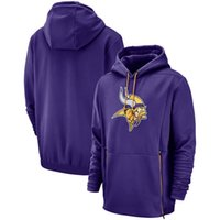 pull d'or achat en gros de-2019 New Men Minnesota Sweat Vikings Hommage au service Sideline Therma Performance Violet Or Pull À Capuche