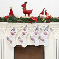 ingrosso calzini di natale di cartoni animati-Simpatici calzini regalo di Natale unicorno Cartoon Kids Xmas Candy Gift Bag Christmas ree Hanging Home Decoration TTA1446