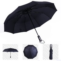Wholesale umbrella commercial resale online - Fully automatic Umbrella Three Folding Male Commercial Compact Large Strong Frame Windproof Ribs Gentle Black Umbrellas