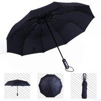 sombrilla comercial al por mayor-Paraguas completamente automático Tres plegables Macho Comercial Compacto Gran marco fuerte a prueba de viento 10 costillas Suaves paraguas negros