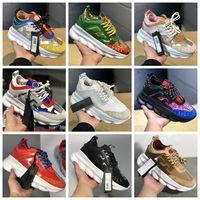 Wholesale gold tribute online - 2019 Chain Reaction Tribute Sneakers Italy luxury bad women men Medusa Running Shoes Designer Flats Medusa Chaussures
