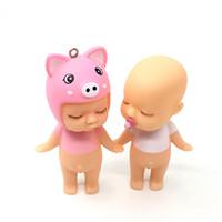 ingrosso bello bambino amanti-Cute Baby Doll portachiavi Boy Girl modello portachiavi Kids Novità Desktop decorazione auto Lovely Hangbag Pendant Lovers Regali