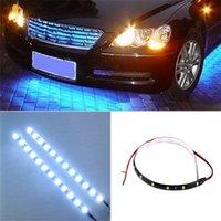 luz de conducción diurna flexible led al por mayor-Coche Auto Moto Luces de circulación diurna Coche Flexible 15 Tira de luz LED de alta potencia 12V Impermeable LED Decorativo Car-styling