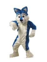 Wholesale christmas cartoon mascot for sale – halloween 2019 Professional custom Blue Husky Dog Mascot Costume Cartoon Wolf dog Character Clothes Christmas Halloween Party Fancy Dress