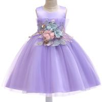 melhor roupa do casamento venda por atacado-Best Selling Meninas Vestem Festa de Natal Baile de Formatura vestido de Baile Vestidos de Princesa Crianças roupas Com Flor XF10