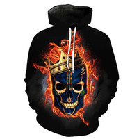 Wholesale hoodies for head for sale - Group buy Hot Sale Western Style Skull Head D Digital Printing Casual Sports Hoodie for Young Men Women Designer Hoodies Fashion Hipster Hoodies