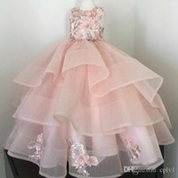 Wholesale floor length sequin rhinestone pageant dress for sale - Group buy Shiny Sequins Flower Girls Dresses Sleeveless Tulle Tiered TuTu Girls Pageant Gowns Gorgeous Puffy Prom Dresses