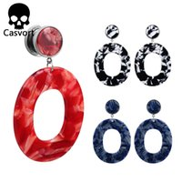 Wholesale dangle ear tunnels for sale - Group buy Casvort new arrival acrylic dangle ear plugs body jewelry piercing screw back double flared ear tunnels good silver pair selling
