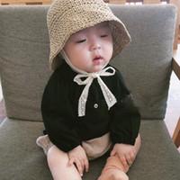 chapéus de palha artesanais venda por atacado-Chapéu de palha crianças Ins artesanais de verão crianças coreano crochê pala de sol chapéu balde com linha de rendas respirável pescador chapéus bonés de design cap