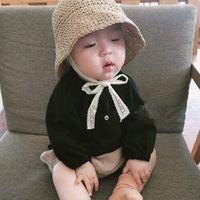 Wholesale straw hat handmade online - Kids straw hat Ins handmade summer children Korean crochet sun visor bucket hat with lace line breathable fisherman hats design caps cap