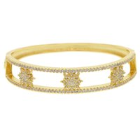 Wholesale 18k gold bangles stars resale online - cz star gold color open cufff bangle bracelet for women trendy lady jewelry gorgeous cm star bangles