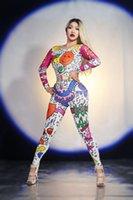 sahne giyim kostümleri toptan satış-Karikatür Doodle Tulum Kıyafet Kadın Şarkıcı Performans Parti Giyim Dans Sahne Kostüm Bodysuit Balo Gösterisi Tayt DS DJ Tulum