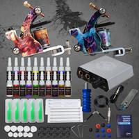 Wholesale needles grips tips resale online - Beginner Complete Tattoo Kit Supplies Machine Guns color Inks Power supply Needles Grip Tip Set D175GD