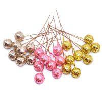 ingrosso bacche artificiali-50PCS DIY fiorisce Glitter di Natale fiori artificiali bacche artificiali Stami Wedding / decorazione Christams del partito