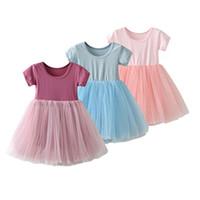 детские повседневные рубашки платья девушки оптовых-Toddler Kids Girl Tutu Tulle Short Sleeve Round Neck Casual Summer T Shirt Dress 1 2 3 4T Girls Dance Dress
