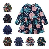 Wholesale gowns style clothes online - Baby girls Pineapple flower dress children Floral print princess dresses Spring Autumn Boutique kids Clothing colors C5850