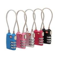 sacos com fechadura combinada venda por atacado-TSA reajustáveis 3 dígitos combinação cabo de bloqueio de bagagem da mala de viagem Travel Bag código de bloqueio do metal cadeado de segurança para a escola Gym Locker