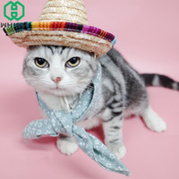 Wholesale hats handmade cat resale online - WHISM Handmade Straw Pet Hat Summer Knitted Dog Hats Adjustable Buckle Puppy Caps Small Animal Chihuahua Cat Cap Pet Accessories