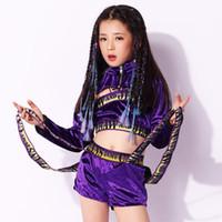lila kinder jacken großhandel-1 SET Kids Purple Performance Hip Hop Jacke Kleidung Mädchen Top Shirt Shorts Jazz Dancewear Kostüm Ballsaal Kleidung
