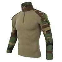 Wholesale multicam tactical shirt resale online - Camouflage Army T shirt Men Us Ru Soldiers Combat Tactical T Shirt Military Force Multicam Camo Long Sleeve T Shirts J190528